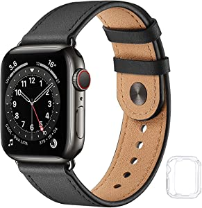 Leather Band Compatible with Apple Watch Bands 44mm 42mm 40mm 38mm, Genuine Soft Leather Replacement Wristband Strap for Men Women for iWatch SE Series 6 5 4 3 2 1(Black/Black,42MM 44MM)