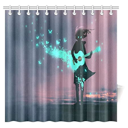 InterestPrint Music Shower Curtain, Girl Playing Guitar with a Blue ...