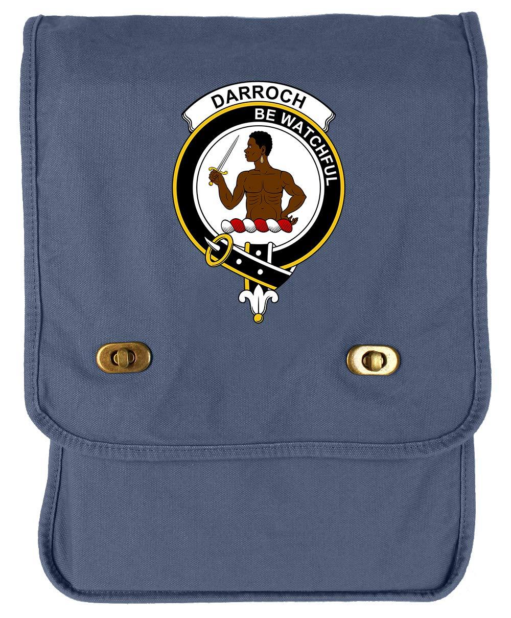 Tenacitee Scottish Clan Crest Badge Darroch of Gourock Flamingo Raw Edge Canvas Messenger Bag
