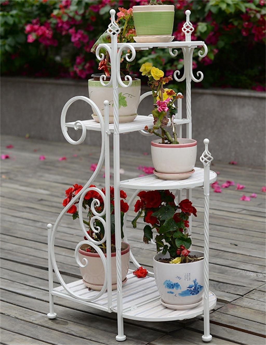 XYZ Europäische Fußboden-Eisen-Blumen-Topf-Regal-Wohnzimmer-Innen-Holz-Blumentöpfe-Halter, Standplatz Empfindlich haltbar ( farbe : Weiß )