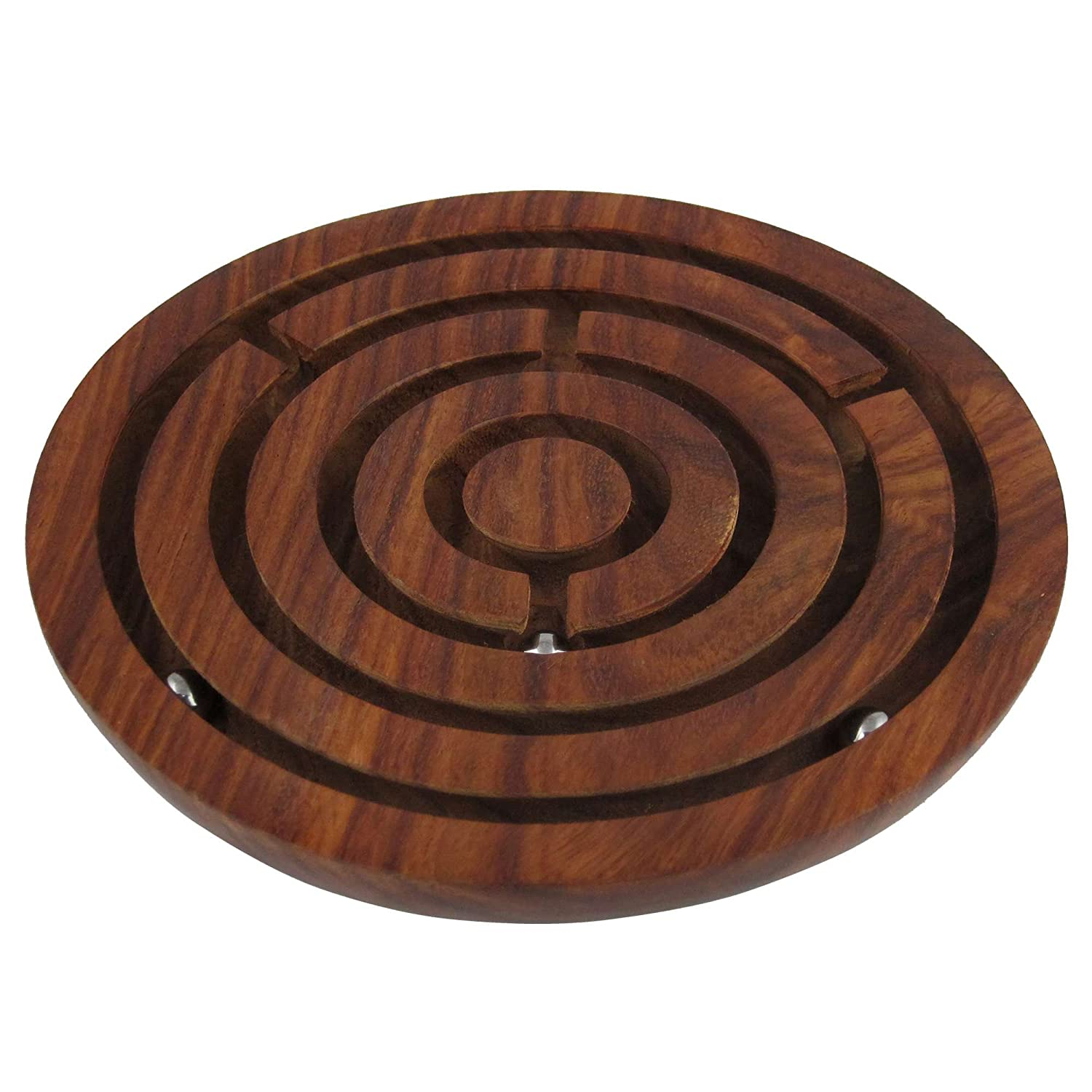 Penguin Home Game Labyrinth, Ball-in-a-Maze Puzzles, Handcrafted in India - Round