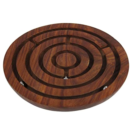 Handcrafted Indian Wooden Labyrinth Ball Maze Puzzle Game Decoration