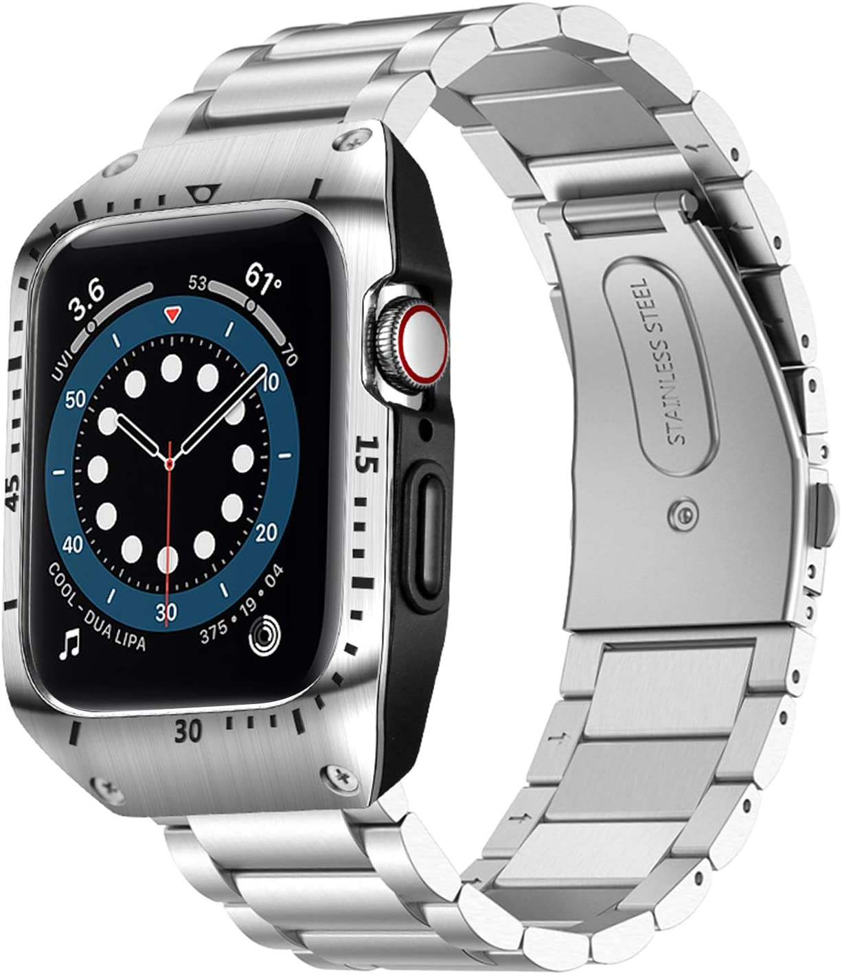 HATALKIN Compatible with Apple Watch Series 6 5 4 44mm Band with Metal Bumper Case,Rugged Men Bands for Apple Watch SE/iWatch 6 5 4 44mm Stainless Steel Cases Protector Drop-Proof Shockproof(Silver)