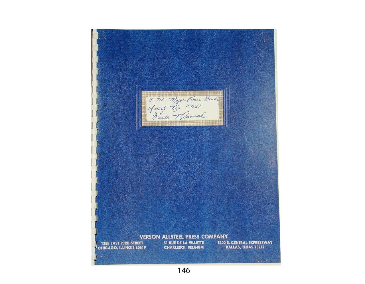 Verson Allsteel Press Brake Parts & Operation Manual: Verson Allsteel: Amazon.com: Books