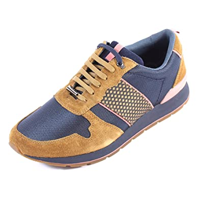 a9511f424b05 Ted Baker Men s Jaymz Textile Suede Lace Up Trainer Tan Dark Blue ...