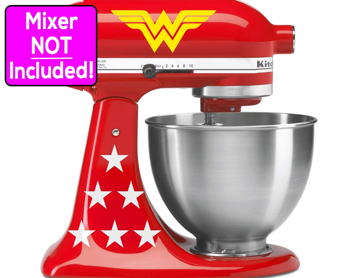 Wonder Woman sticker set for KitchenAid stand mixers (Yellow logos w/white stars) NO MIXER INCLUDED - Decals ONLY by Sunbeam Decals