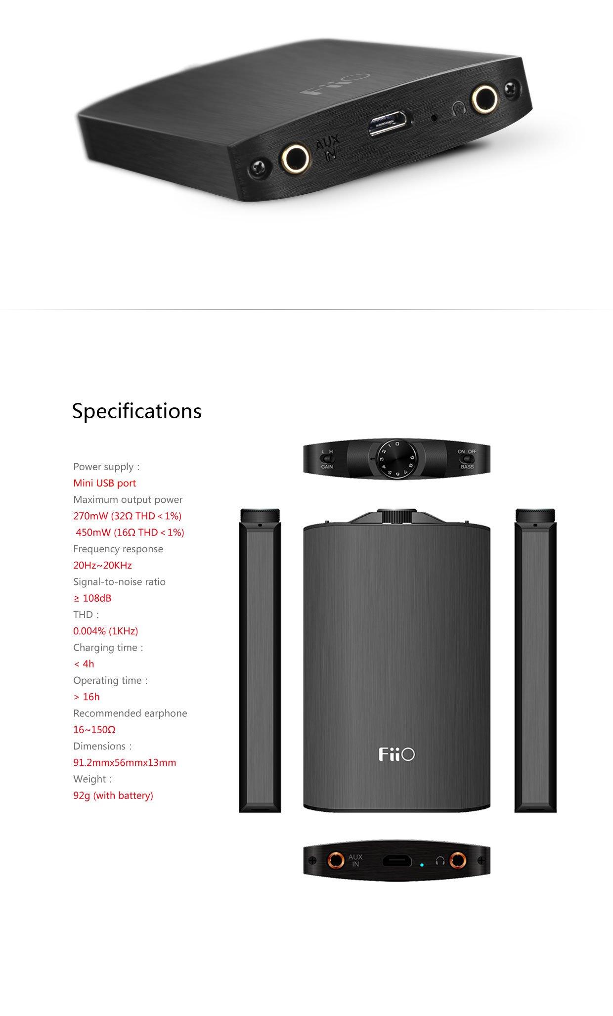 FiiO A3 (E11K E11) Kilimanjaro 2 Portable Headphone Amplifier with Extreme Audio 3.5mm Stereo to RCA Cable by FiiO (Image #4)