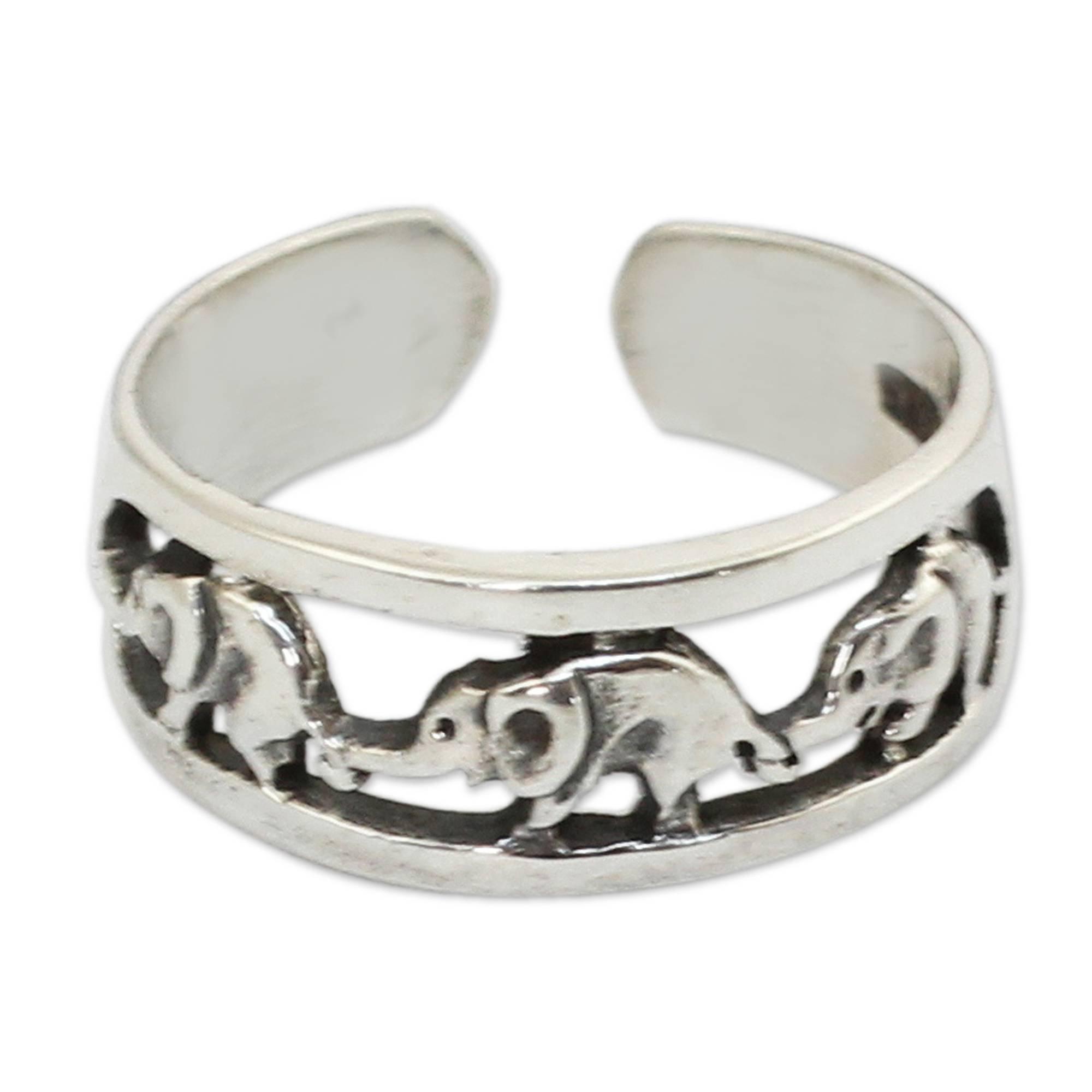 NOVICA .925 Sterling Silver Animal Themed Adjustable Toe Ring 'Elephant Walk', One Size