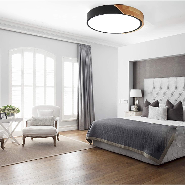 /Ø30cm * 5cm 2400LM 3000K Warm White Wooden Round Modern LED Ceiling Light Kimjo 24W LED Ceiling Light Ideal for Bedroom Living Room Kitchen Hallway Office Childrens Room