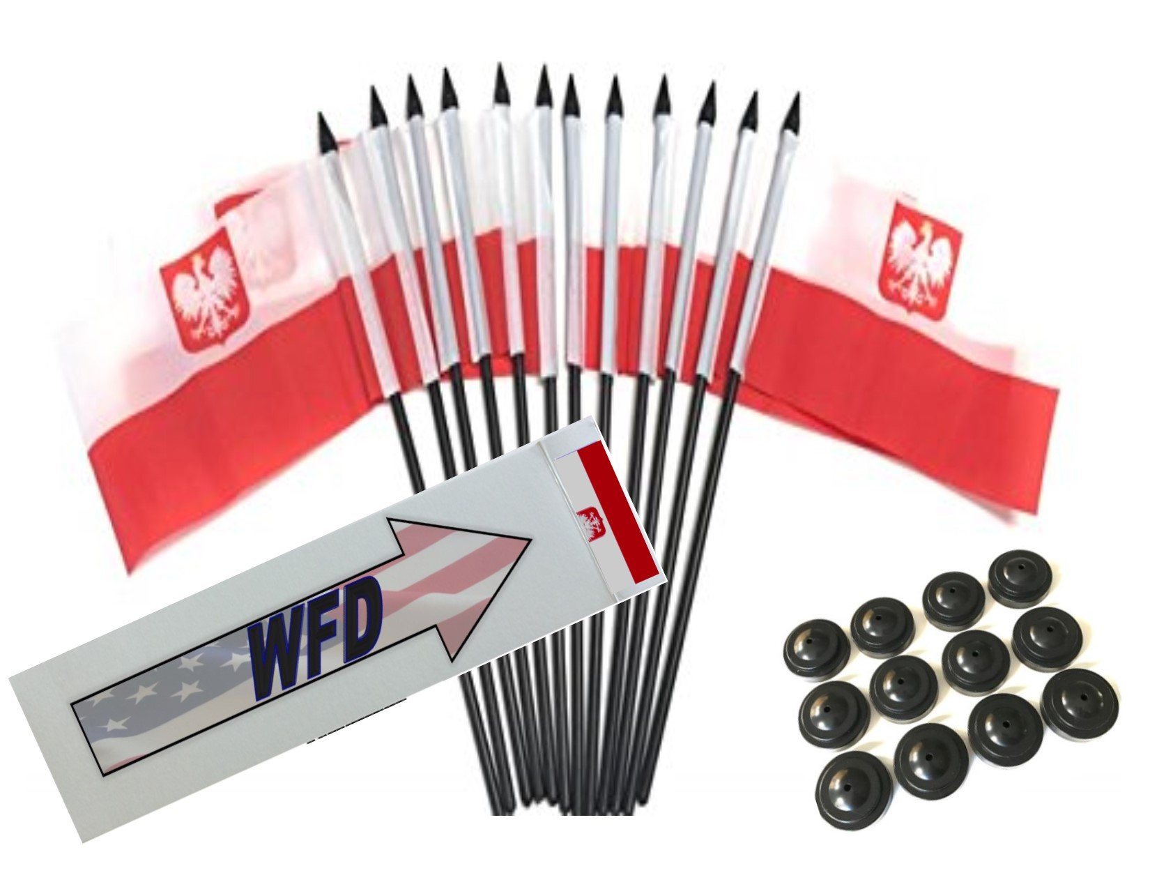 Pack of 12 4''x6'' Poland Eagle Polyester Miniature Desk & Little Table Flags, 1 Dozen 4''x 6'' Polish Eagle Small Mini Hand Waving Stick Flags with 12 Flag Bases (Stands)