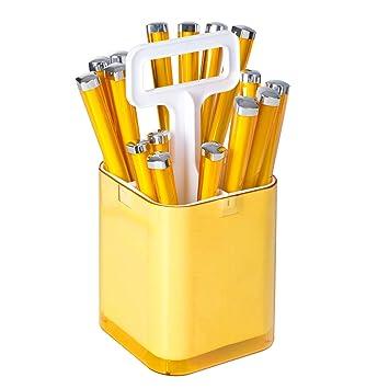 Cubertería de 17 cubiertos de acero inoxidable - 2 en 1: cubertero y escurridor (Amarillo): Amazon.es: Hogar