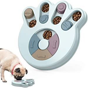 Pawaboo Dog Puzzle Toys, Interactive Puzzle Game Dog Toys, Slow Feeder Food Dispenser Dog Treat Puzzle Toys for Puppy, 12 Holes for Various Snacks Interactive Training Toys Board for Small Large Dogs
