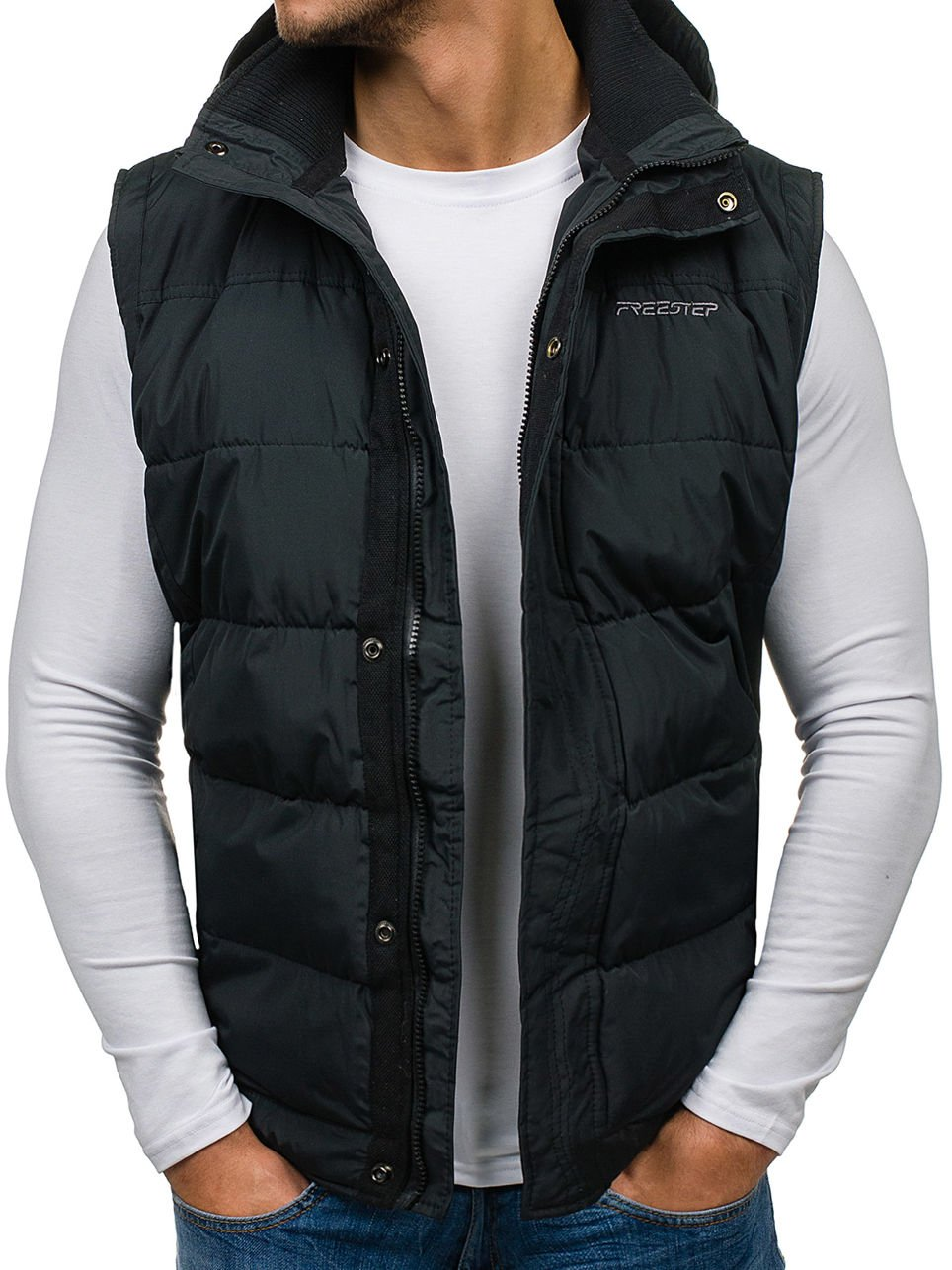 BOLF Men's Gilet Quilted Zip-Front Hood Sport MIX