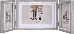WENMER Rustic Three Picture Frames Triple Hinged Picture Frame Display 4x6 and 5x7 Pictures for Desktop or Tabletop 1 Pack