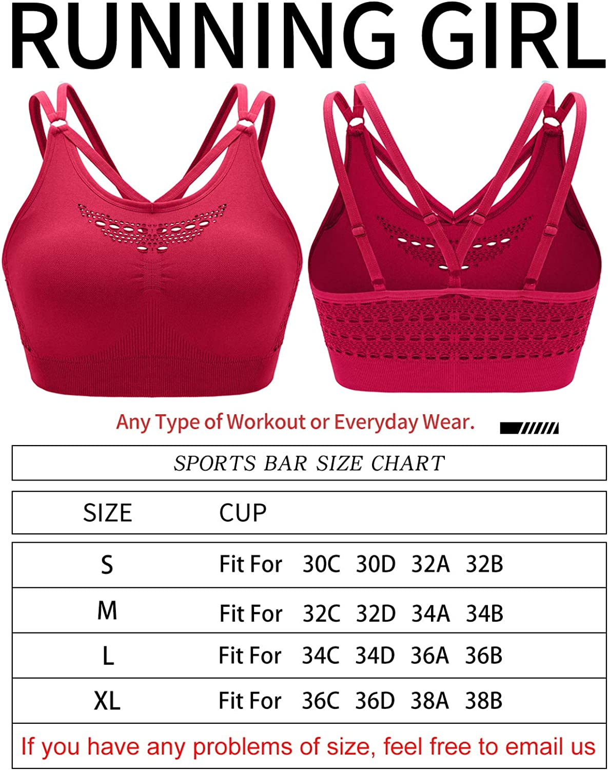 RUNNING GIRL Adjustable Sports Bra for Women,Low Impact Seamless Laser Cut Out Strappy Back Yoga Bra with Removable Cups