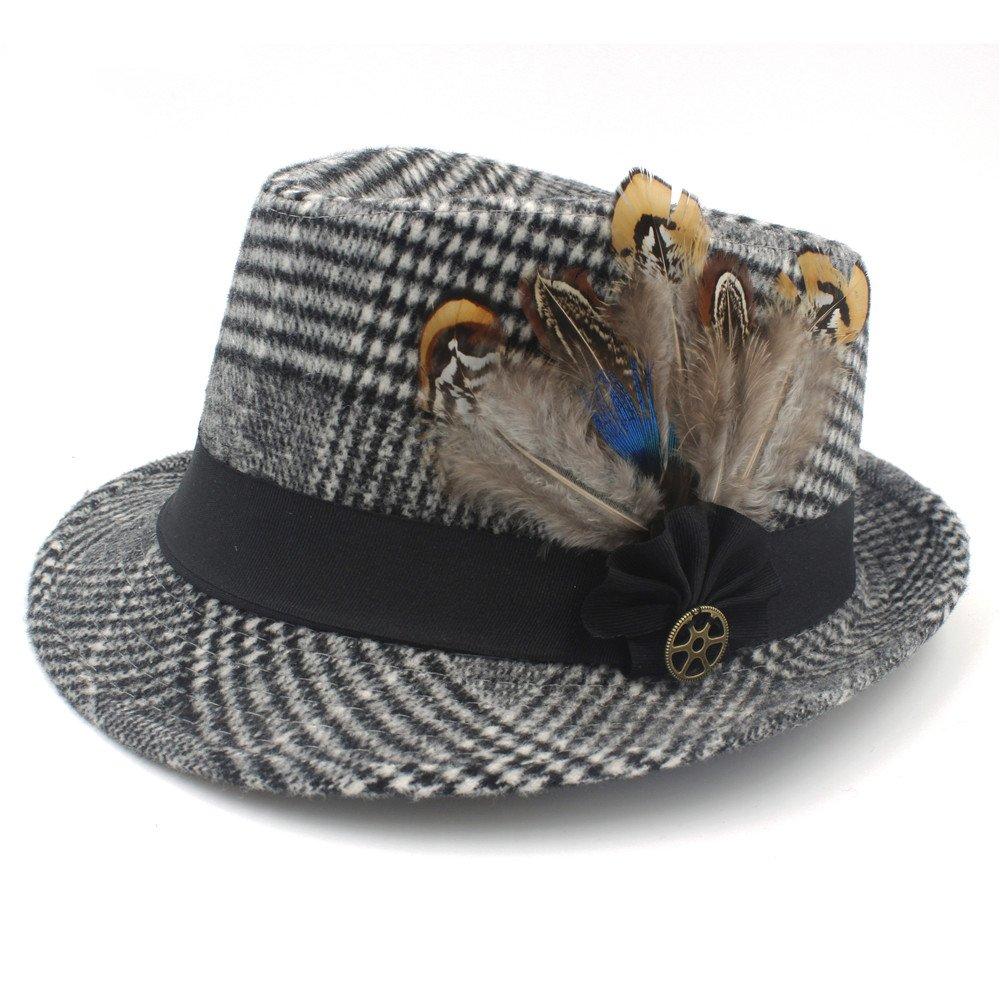 CHENJUAN Hat Fashion Autumn Winter Mens Feminino Fedora Hat for Gentleman Ribbon Sombreros Jazz Hat