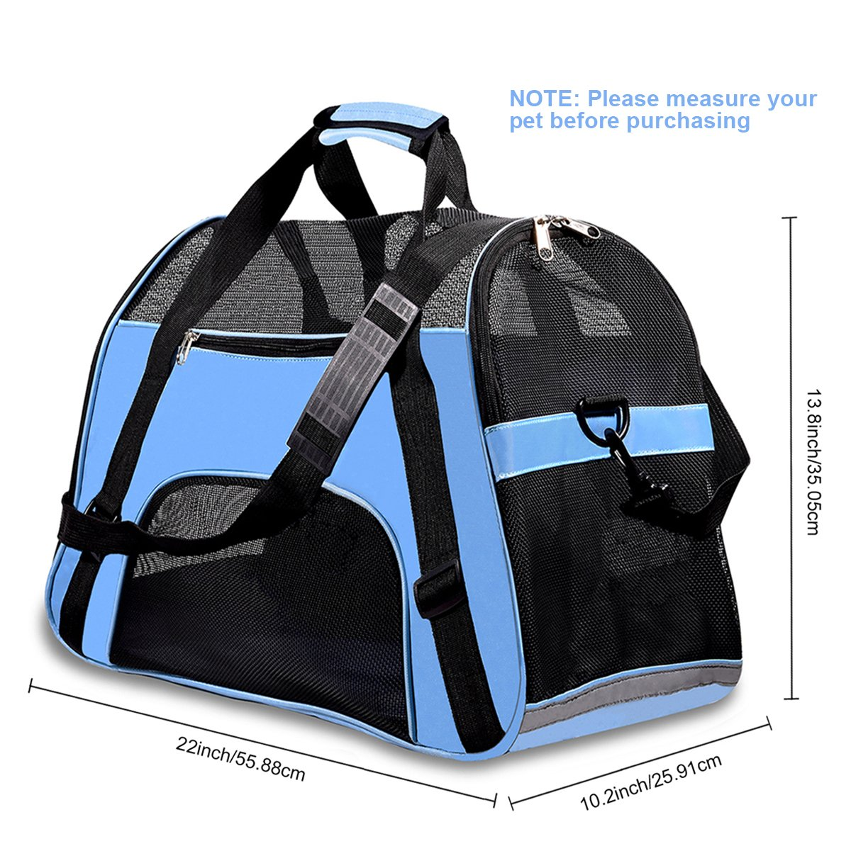 PPOGOO Pet Travel Carriers Soft Sided Portable Bags for Dogs and Cats Airline Approved Dog Carrier 22'' L x 10.2'' W x 13.8'' H Sky Blue by PPOGOO (Image #4)