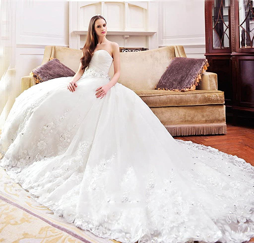 Sisjuly Beaded Lace Appliques Ball Gown Wedding Dress for Bride