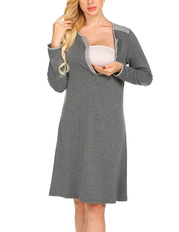 UNibelle Femme Robe de Maternit/é et dallaitement Manches Courtes Chemise de Nuit Pregnant S-XXL