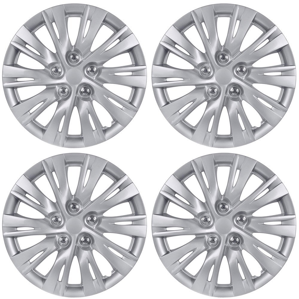 BDK Toyota Camry Style Hubcaps 16'' Wheel Covers - 2012, 2013 Model Replica Cover, Silver, 4 Pieces