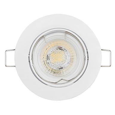 6er LED Einbaustrahler Schwenkbar Ultra Flach Inkl. 6 x 5W LED Modul 230V nur 23mm dimmbare Lichtfarbe 3000K, Ra >85, 5W stat