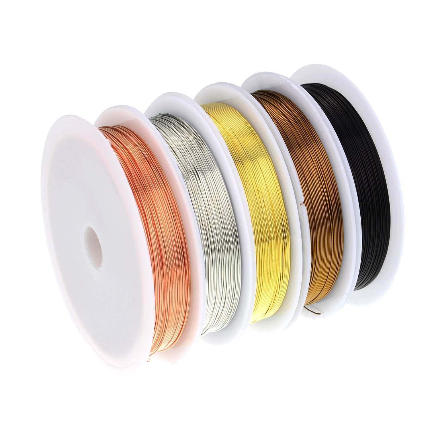 5 Rolls Copper Wire Tarnish Resistant Jewelry Beading Wire for Jewelry Making, 5 Assorted Colors M-Aimee Jewelry-Making Tools-5
