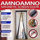 "AmnoAmno Magnetic Screen Door with Heavy Duty Mesh Curtain and Full Frame Velcro that Snap Shut Automatically, Keep Bugs out Let Fresh Air In, Fits Door Size up to 34""x82"" (Black)"
