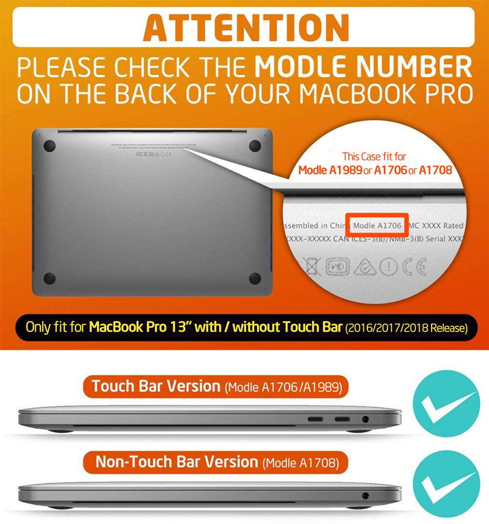 MacBook Pro 13 Case 2018 2017 2016 Release A1989/A1706/A1708, i-Blason [Heavy Duty] [Dual Layer] Cover with TPU Bumper for Apple Macbook Pro 13 inch With or Without Touch Bar and Touch ID (Black) by i-Blason (Image #2)
