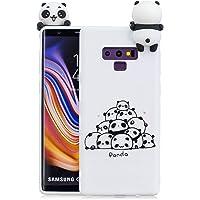 Yobby Coque pour Samsung Galaxy Note 9,Coque Souple Silicone 3D Dessin Animé Animaux Mignon Pandas Blanc Etui,Mode Cool Unique Caoutchouc Gel Peau Housse pour Enfants Garçons Filles