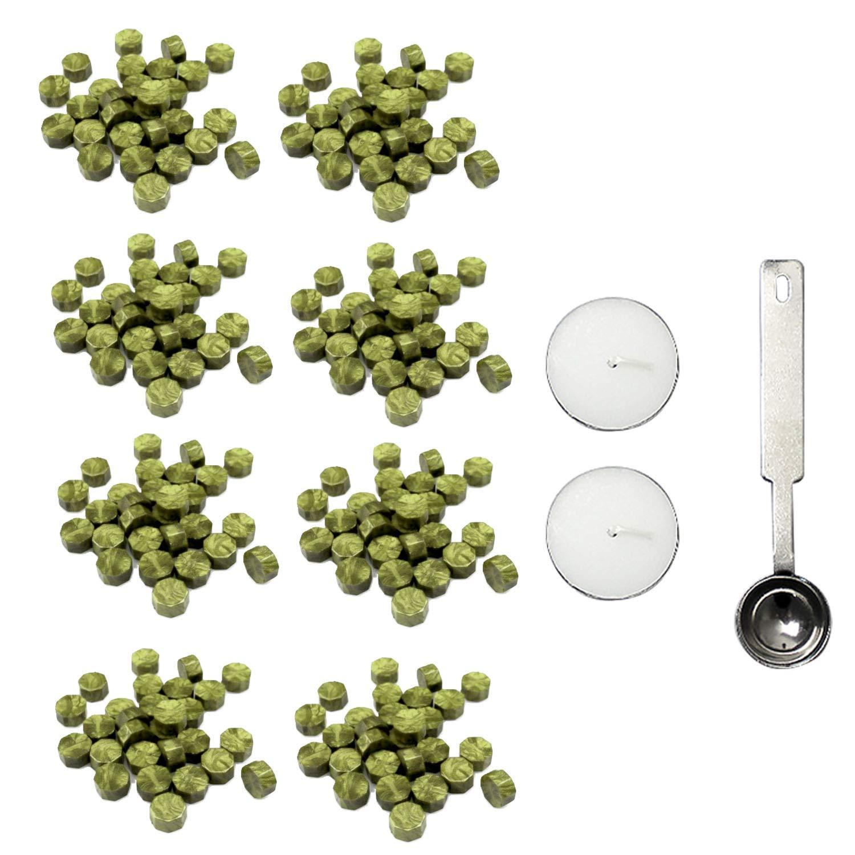 Migavenn 190-200pcs perles de cire à cacheter octogonale avec bougies cuillère pour les manuscrits de mariage enveloppes cartes artisanat cadeaux timbre de cire scellant or vert Migavan