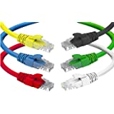 CAT6 Ethernet Cable (6 Feet) LAN, UTP (1.8 m) CAT 6 RJ45, Network, Patch, Internet Cable - 6 Pack (6 ft)