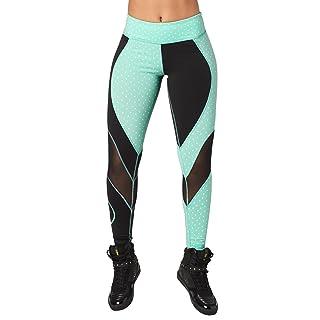 Zumba Women's Athletic Fashion Print Legging with Breathable Mesh Panels, Bold Black, Large