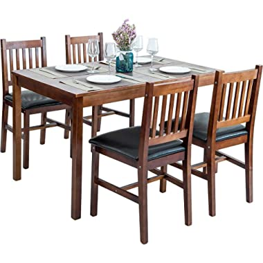 Harper&Bright Designs 5 Piece Wood Dining Table Set 4 Person Home Kitchen Table and Chairs (Walnut)