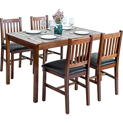 Amazon Com Harper Bright Designs 5 Piece Wood Dining Table Set 4