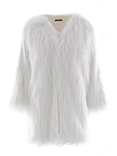 brand new 04fcb c699e Simplee Apparel Donna Cappotto Invernale Elegante Caldo Faux Fur Pelliccia  Sintetica Giacca Corta Cappotto Coat