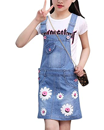 82385ff7ccd Summer Kids Girls Dungarees Set Dress Printed Overalls Ripped Jumpsuit  Playsuit Denim Jumpsuit + Childrens T Shirt Tops Tees for Age 7-13:  Amazon.co.uk: ...