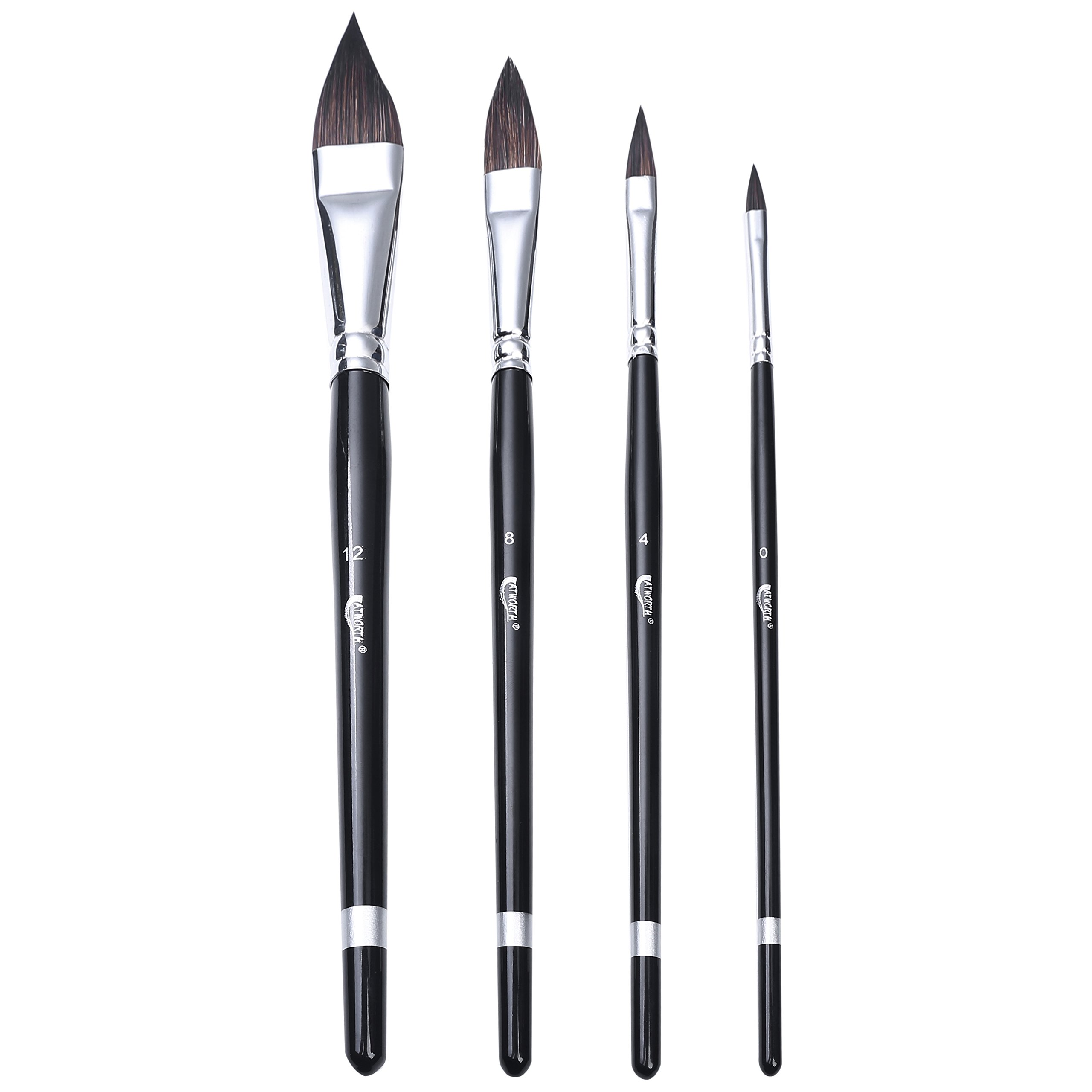 ATWORTH Sable Hair Cat's Tongue Paint Brushes Versatile Wash Paint Brush Set of 4 for Watercolor Painting
