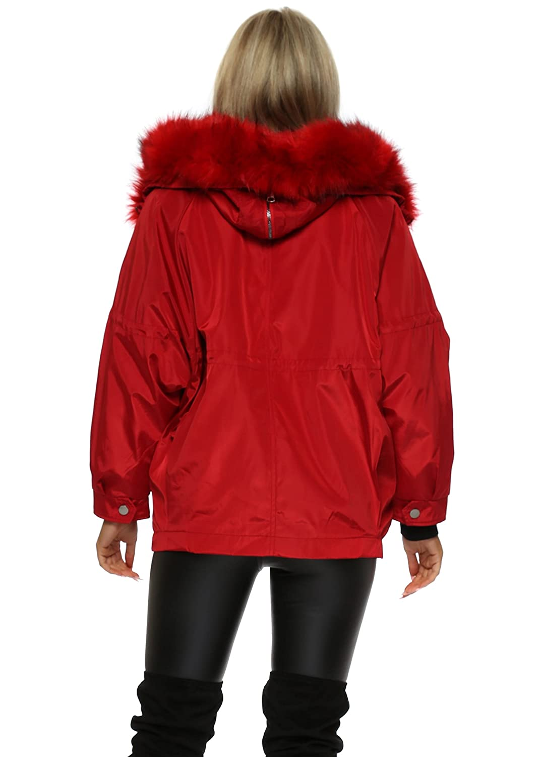 92d62f16ccae Drole de Copine Red Hooded Puffer Jacket with Detachable Faux Fur M/L Red:  Amazon.co.uk: Clothing