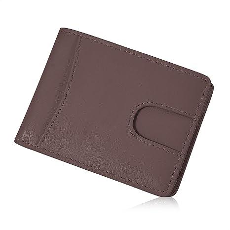 XY-shell Cartera Hombre Piel con Ventana ID RFID Billetera Bolsillo Tarjeta Cuero[Marrón