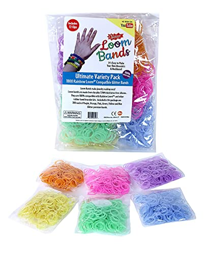49fa1dd9 Amazon.com: Loom Rubber Bands - 1800 Pc Glitter Rubber Band Mega Value  Refill Pack (300 Each of 6 Different Glitter Colors) - 100% Latex Free: Toys  & Games