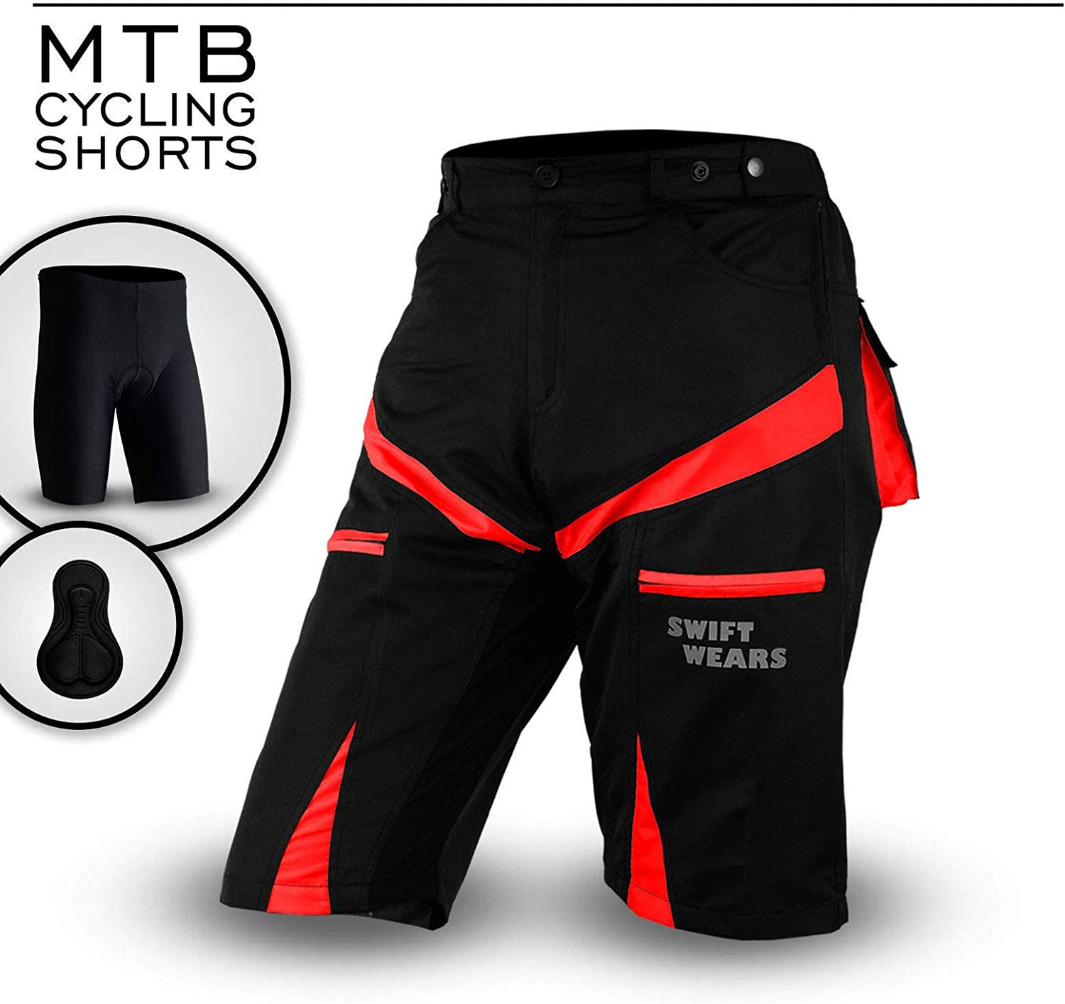 SwiftWears MTB Cycling Shorts Cycle Mountain Bike Off Road CoolMax Padded Inner Lycra Liner