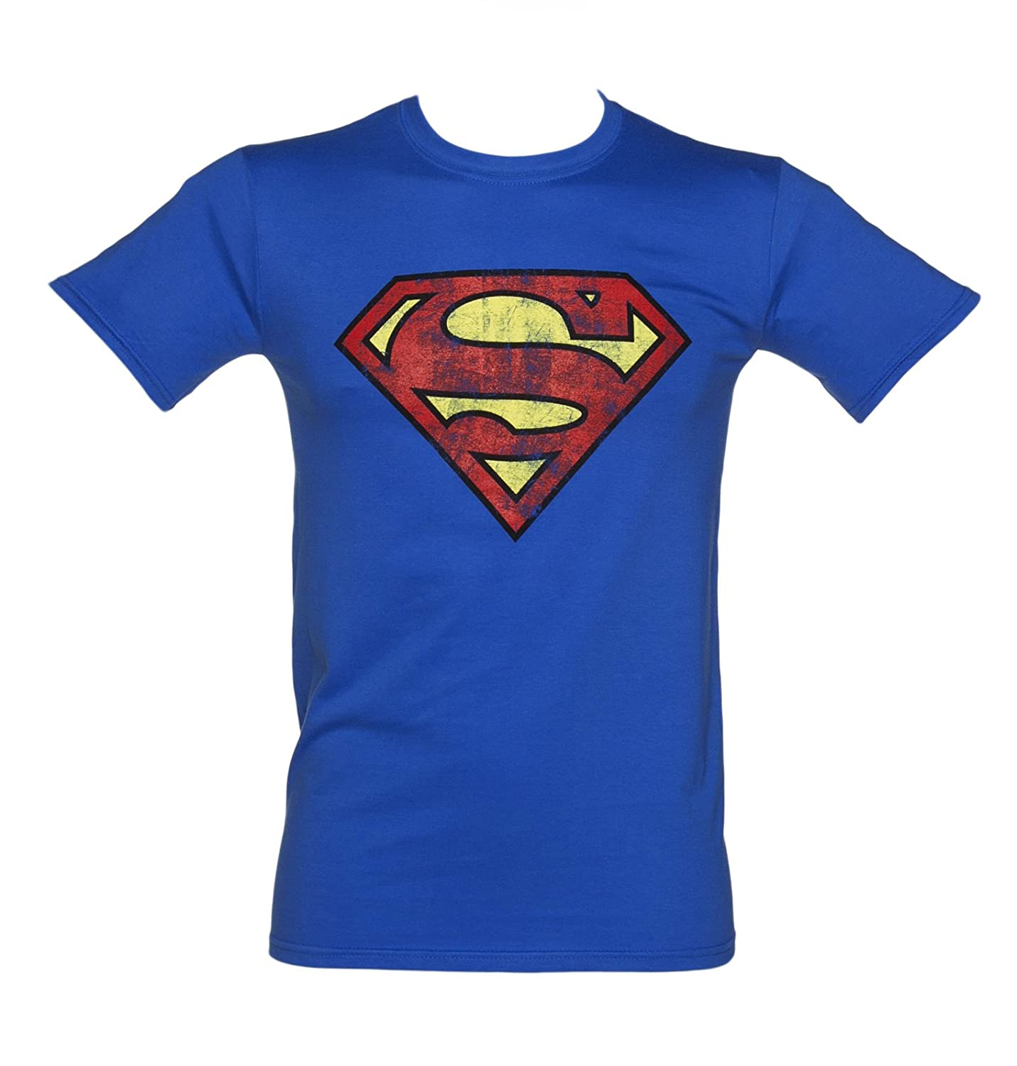 be3bd5def8a Top5  Mens Blue Distressed Superman Logo T Shirt - Superhero And Villain  Tees