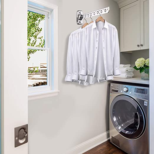 ASHOP Wall Mount Clothes Hanger Rack Wall Clothes Hanger Stainless Steel Clothes Hooks with Swing Arm Holder Closet Organizers and Storage 2 Pack