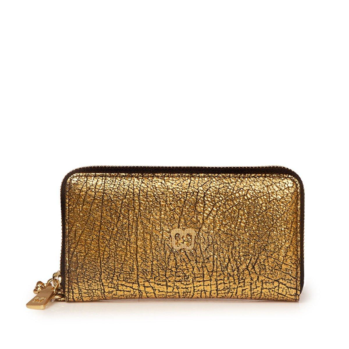 Eric Javits Luxury Fashion Designer Women's Handbag - Smartphone Wristlet - Gold