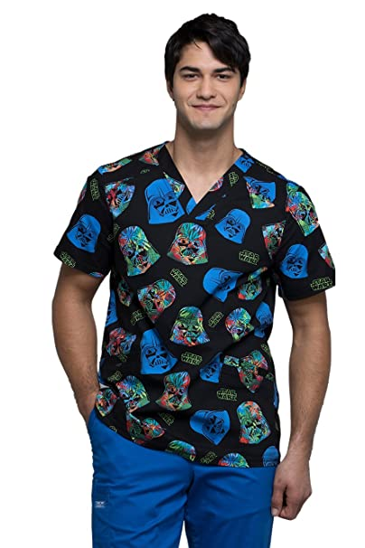 8f3ab9cf4a7 Image Unavailable. Image not available for. Color: Cherokee Tooniforms  Men's V-Neck Star Wars Print Scrub Top ...