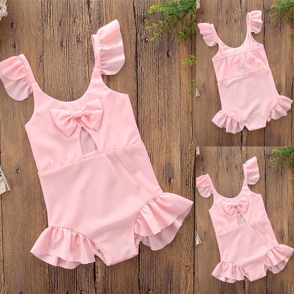 HEART SPEAKER Children Baby Girls Solid Color Summer Bowknot Ruffle Swimwear One-Piece Swimsuit