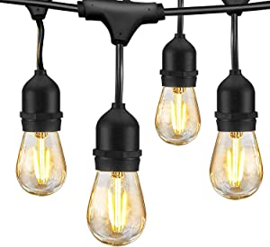 LED Outdoor String Lights 48FT with 2W Dimmable Edison Vintage Plastic Bulbs Commercial Waterproof Strand Patio Lights - UL Listed Heavy-Duty Decorative LED Café Patio Light , Porch Market Light