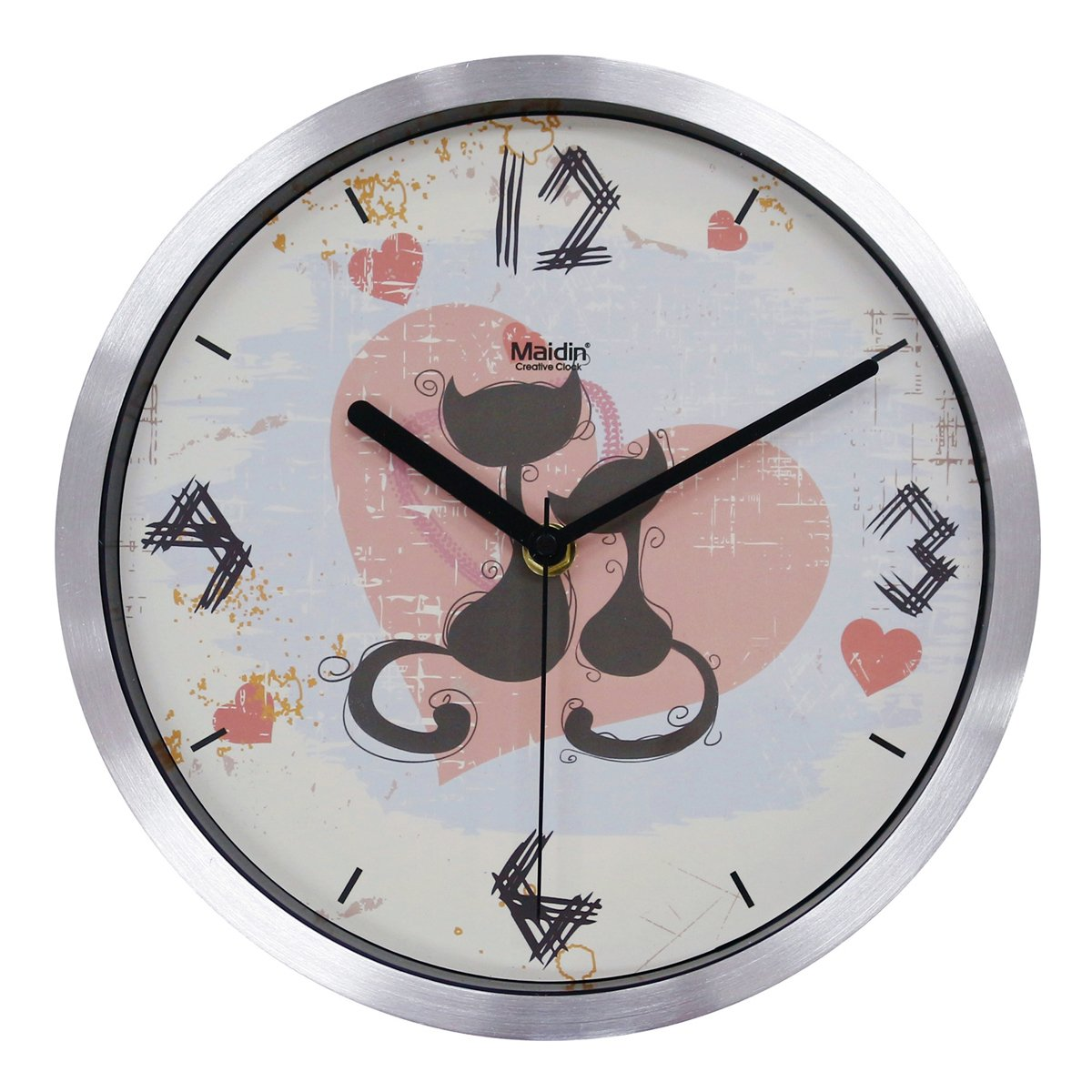 Non Ticking Silent Wall Clock - Two Cats