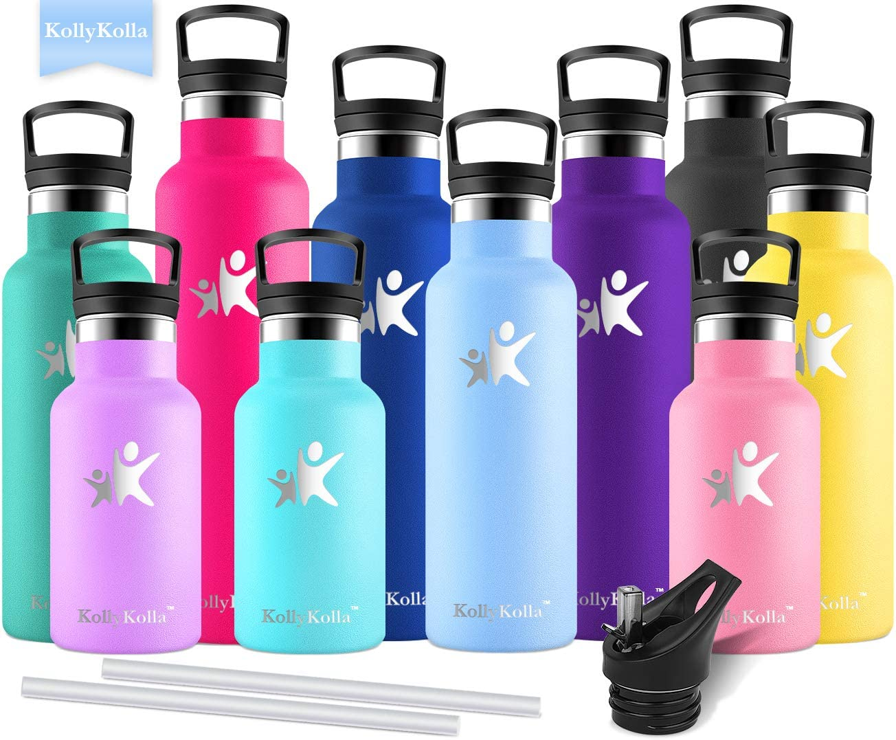Doubled Walled Keeps Hot /& Cold Leak Proof Drinks Bottle Kids Thermoflask KollyKolla Stainless Steel Vacuum Insulated Water Bottle with Straw 12//17//20//25//32 oz BPA Free Metal Reusable Water Bottle