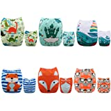 Alva Baby New Positioning and Printed Design Reuseable Washable Pocket Cloth Diaper 6 Nappies + 12 Inserts 6DM48
